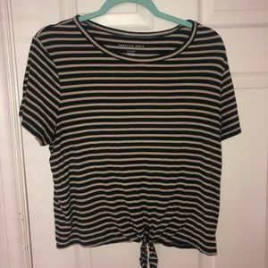 Green and yellow striped cropped tee